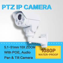 1080P Mini Bullet PTZ IP Camera 2.0 Megapixel 10X Zoom Auto Iris Lens Pan/Tilt Rotation Outdoor IR 80M,With POE,Audio,Alarm In