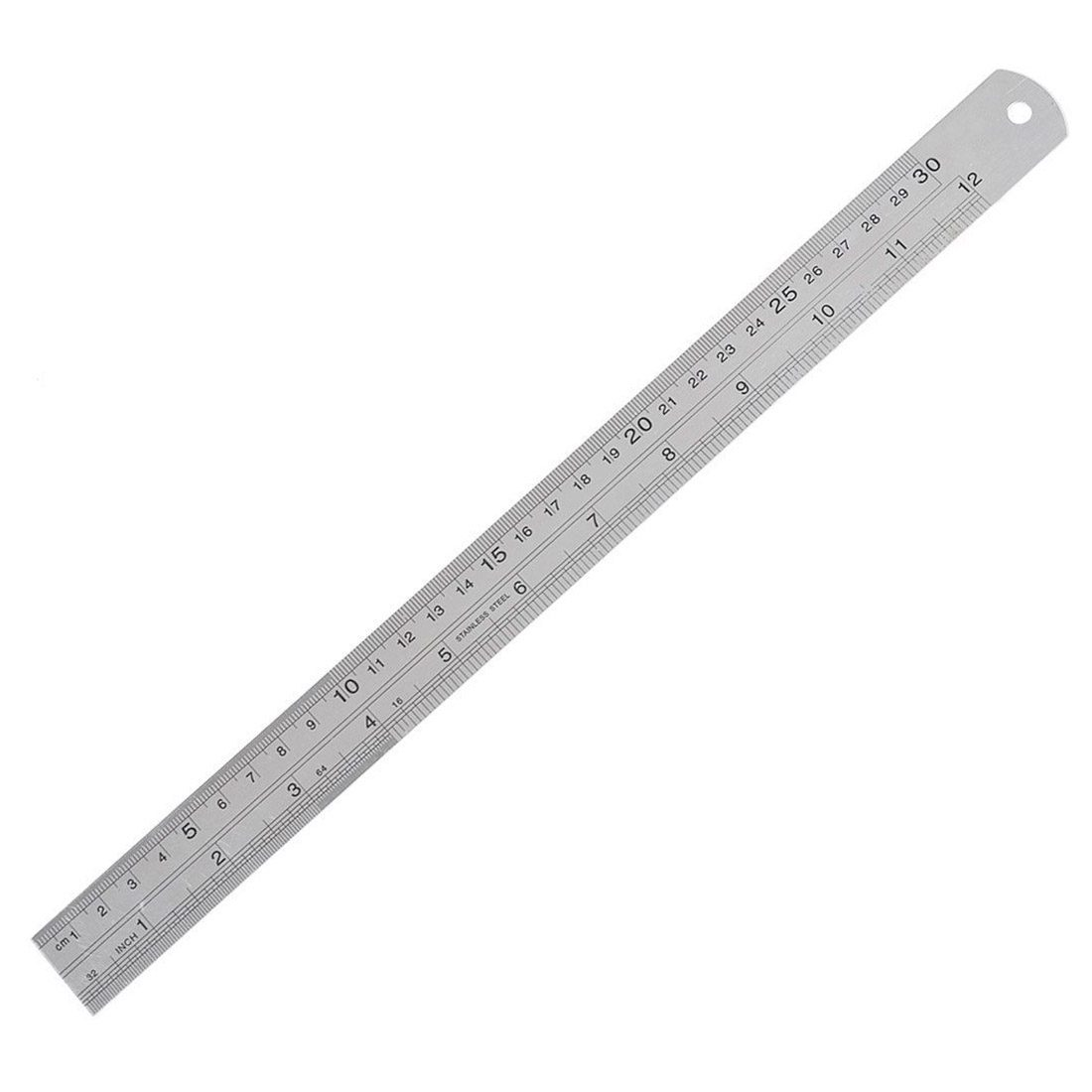 12 Inch Double Sided Metal Steel Measuring Ruler Scale Office Supply