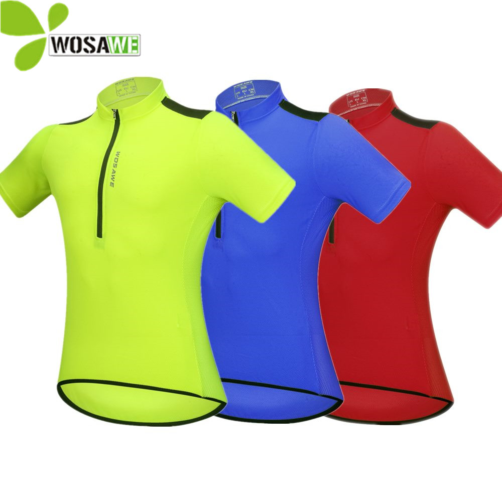 WOSAWE 4 Colors Cycling Jersey Men Short Sleeve High Visibility MTB Bike Reflective Shirt Riding Sportswear Tight Cycle Clothing