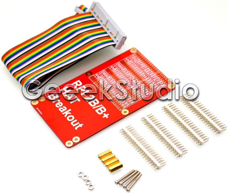 HAT Breakout Shield DIY GPIO Expansion Board With 40P Rainbow Cable Kit For Raspberry Pi 2 / 3 Model B