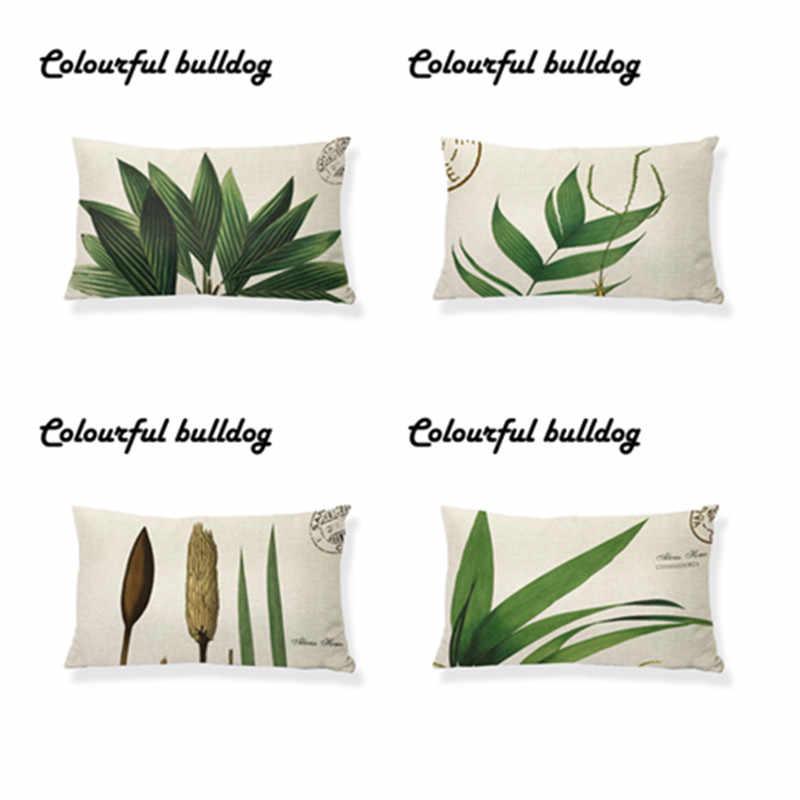 4 peça Definir Plantas Tropicais 30*50 cm Folha Verde Impressão de Linho Capas de Almofada Cadeira Casa Sofá Cintura Decorativo lance Fronha