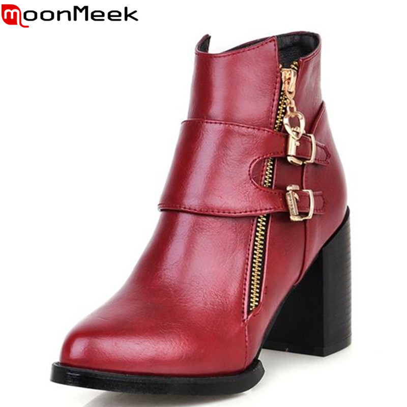 MoonMee autumn med heels pointed toe soft leather high quality buckle zip popular women boots classic elegant ladies ankle boots autumn winter high quality new genuine leather wedges high heels ankle boots elegant fashion pointed toe buckle women boots