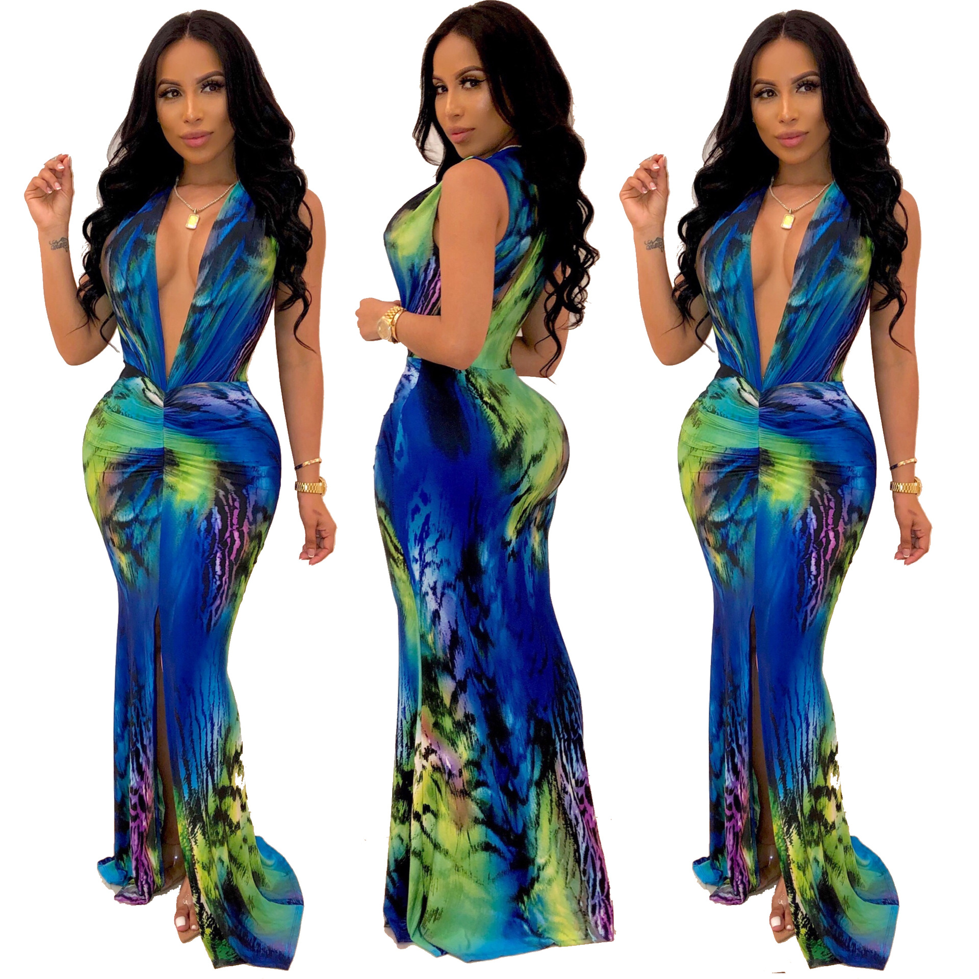 Summer Sexy Deep V Nck Printed Long Dress Women Sleeveless Empire Graceful Robes Fashion Party Trumpet Maxi Dress LZ579