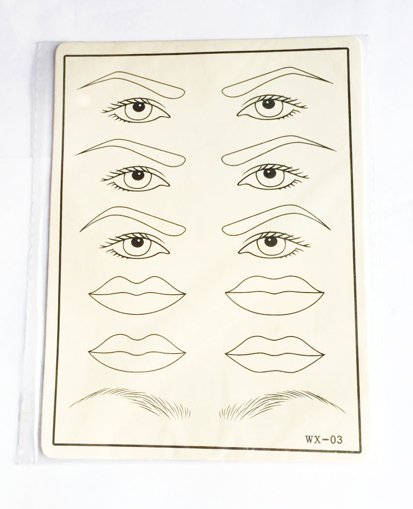 10 Pcs Permanent Makeup Eyebrow Eye Lips Training Tattoo Practice Skin Blank Fake Tattoo Practice Skins