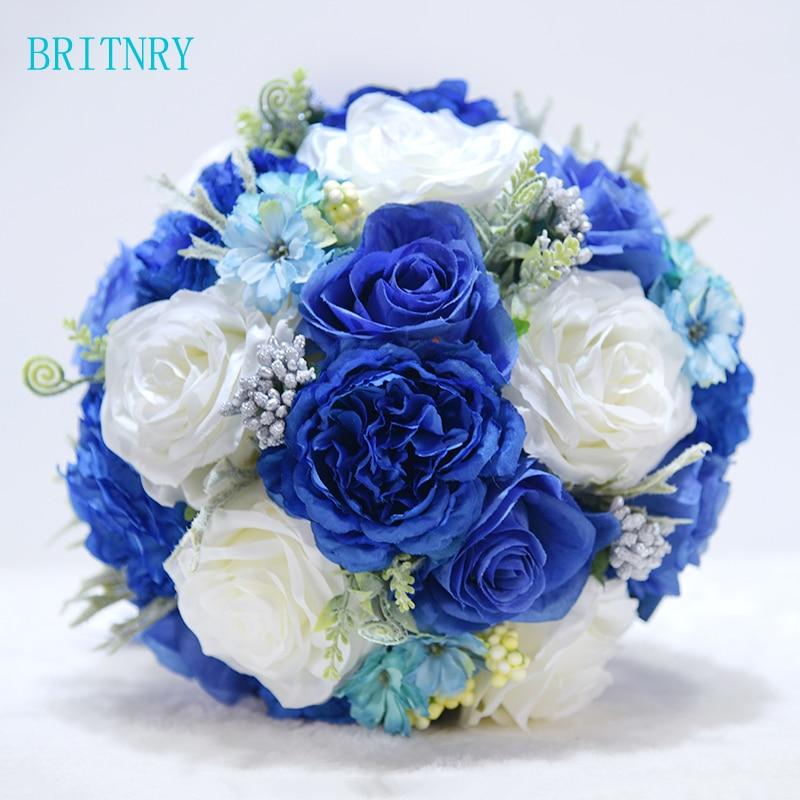 BRITNRY Gorgeous Wedding Bouquet Handmade Roses Flower Bouquet with Silk Ribbon Beautiful Royal Blue hydrangea Bride Bouquet