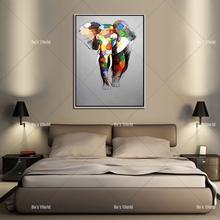 Large Canvas Painting African Modern Art Elephants Living Room Wall Decor Pictures Handmade Landscape Oil Painting Unframed(China)