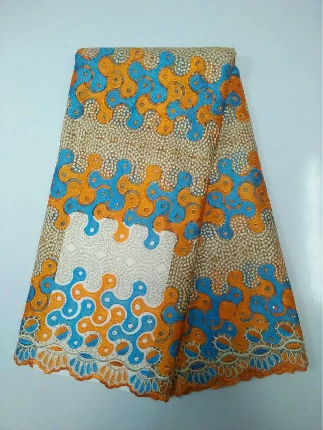 Newest Double color embroidery chemical guipure African lace fabric and cheap price french net lace fabric