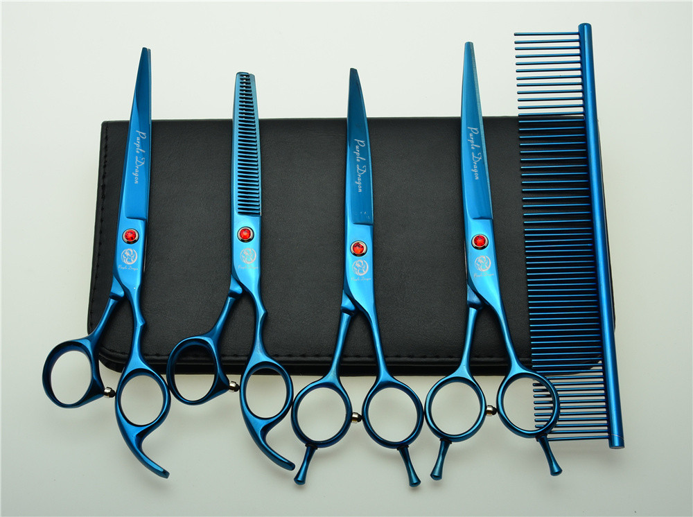 5Pcs Set 7'' 19.5cm Blue Professional Hair Hairdressing Scissors Comb + Cutting Shears + Thinning + UP/Down Curved Shears Z3002L 3pcs suit 7 19 5cm jp kasho professional hair hairdressing scissors cutting shears thinning scissor up curved shears h3001