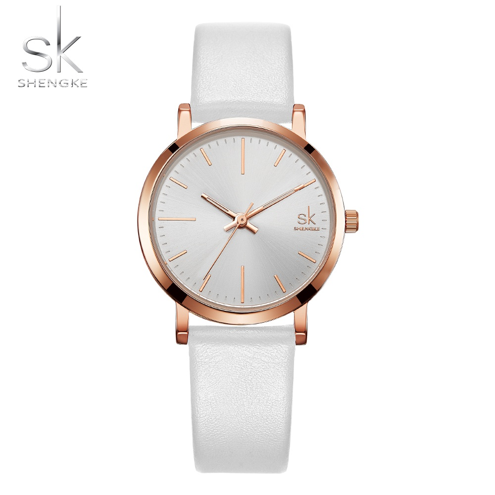 Shengke Couple Watch Men Leather Belt Quartz Wristwatches Lover Watches Fashion Watches For Women As Gift Relogio Masculino