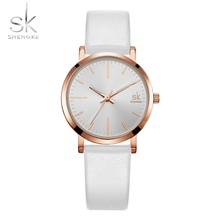 Shengke Couple Watch Men Leather Belt Quartz Wristwatches Lo