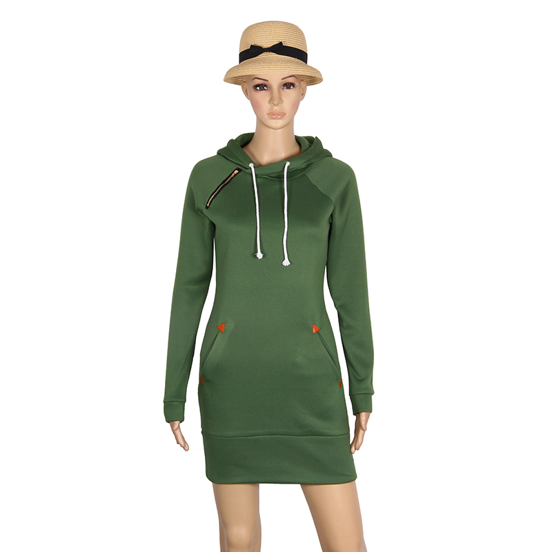 Warm Winter High Quality Hooded Dresses Pocket Long Sleeved Casual Mini Dress Sportwear Women Clothings LX130 21