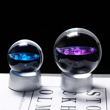 Crystal Planet Ball 3D Solar System Model Glass Globe with LED Base Home Decoration Accessories Astronomy Ornament Sphere - DISCOUNT ITEM  35 OFF Home & Garden