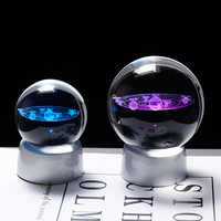 Crystal Planet Ball 3D Solar System Model Glass Globe with LED Base Home Decoration Accessories Astronomy Ornament Sphere