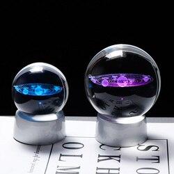 Planeta de cristal bola 3d sistema solar modelo globo vidro com base led decoração para casa acessórios astronomia ornamento esfera
