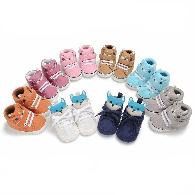 Baby Fox Head Anti-slip Soft Sole Toddler Sneaker Winter Autumn Newborn Solid Animal Prints First Walkers Shoes NBB0121