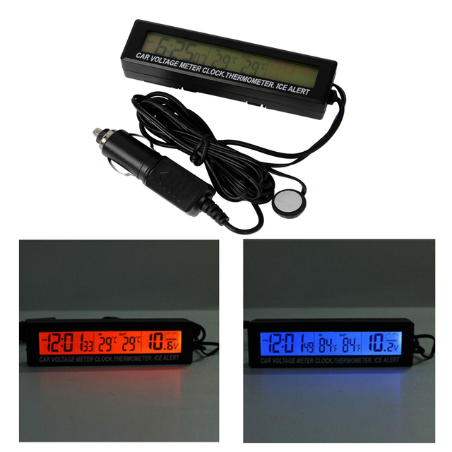 3 in 1 In / Out Thermometer Clock Voltage Meter Monitor Car Meter Digital LCD High Quality With Ice Alert 12V 24V