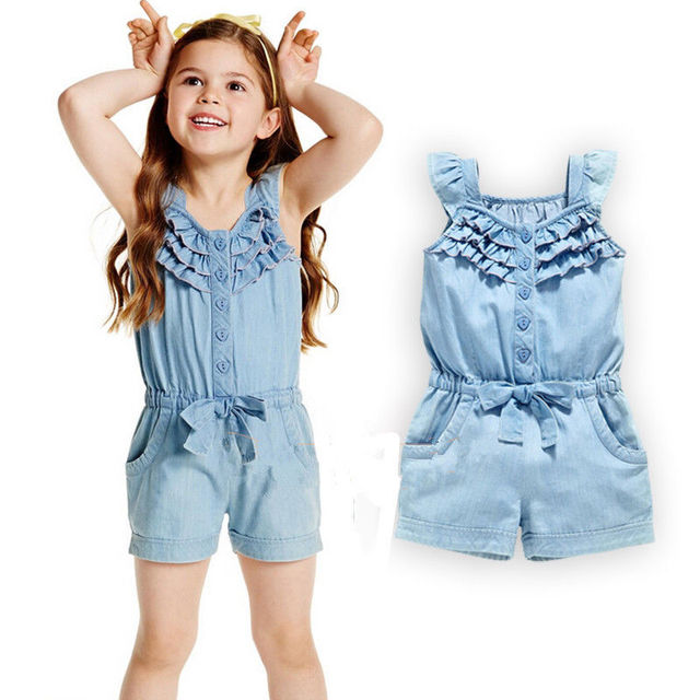 c71cd8dfbf2f9 US $5.44 15% OFF|summer 2016 girls denim overalls for girls jumpsuits  romper trousers kids cotton dungarees short jeans playsuit onepiece-in  Clothing ...