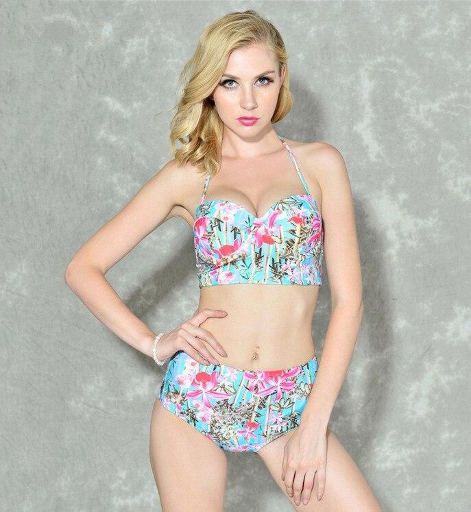 aab5dcd16877b New Floral High Waisted Bikini Set Push Up Swimwear Plus Size Swimsuit  Halter Top Biquini Bathing Suit XXL Tankini Bodysuit