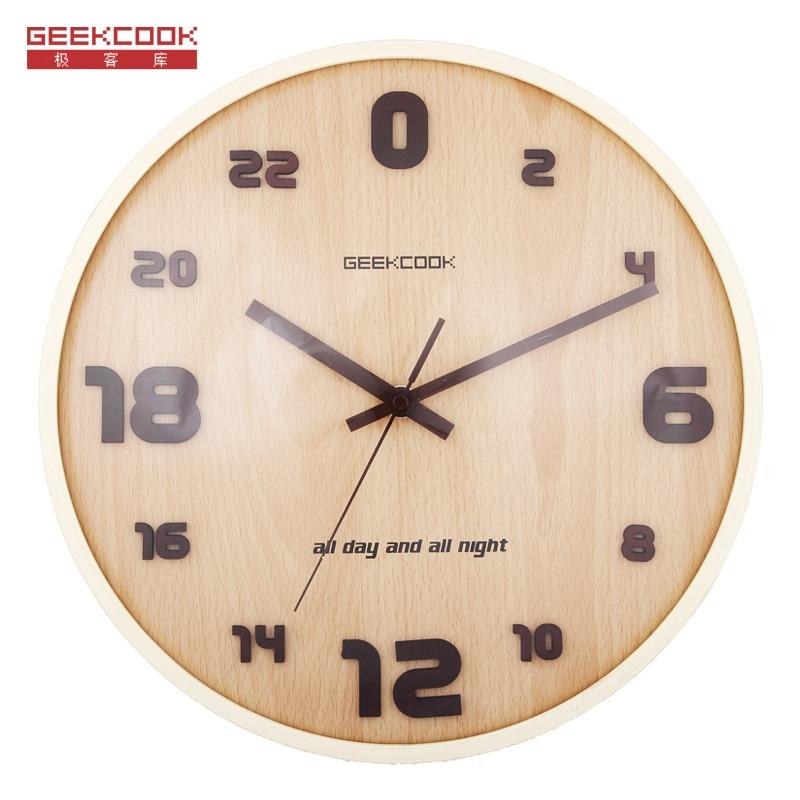 Creative Digital Wall Clock Modern Design 24 Hour Wood Clocks