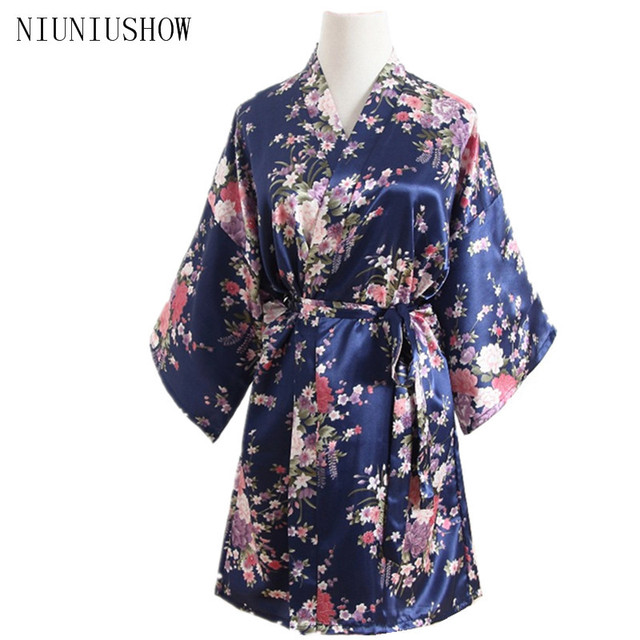 Navy Blue Summer One Size Brides Wedding Robe Dress Women s Elegant Print  Satin Nightwear Flowers Kimono Bathrobe Gown Pajamas ff3734af09f