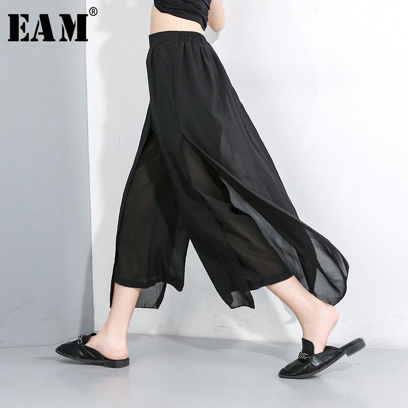 [EAM] 2020 New Autumn Winter High Elastic Waist Loose Black Chiffon Split Joint Wide Leg Pants Women Trousers Fashion Tide JX490