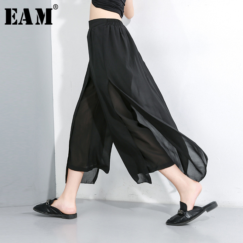 [EAM] 2020 New Spring Autumn High Elastic Waist Loose Black Chiffon Split Joint Wide Leg Pants Women Trousers Fashion Tide JX490