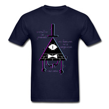 Male Tshirt Illusion Gravity Fall T Shirt Illuminati T-shirt Men Summer Big Size Cotton Crewneck Clothes Geometric Pattern Funny