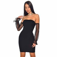 Toptan 2018 Yeni Elbise siyah Straplez Elastik sıkı paket kalça Ince Moda seksi kız Kokteyl parti bandaj elbise (L2426)