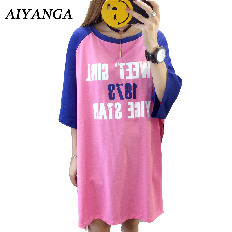 AIYANGA Preppy Style 2018 Summer Womes T Shirt Letter Print Medium Long T-Shirts Short Sleeve Pullovers Casual Loose Tees
