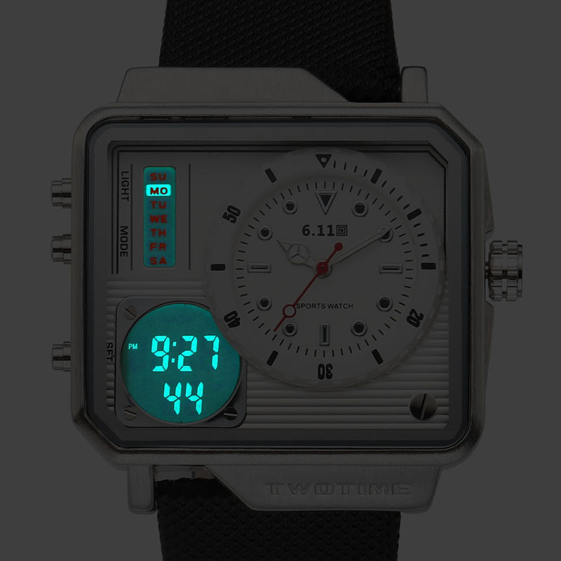 6 11 Mens New Square Double Time Leather Band 30M Waterproof Watch Backlight LED Digital Watch Men Sport Watch relogio masculino in Digital Watches from Watches