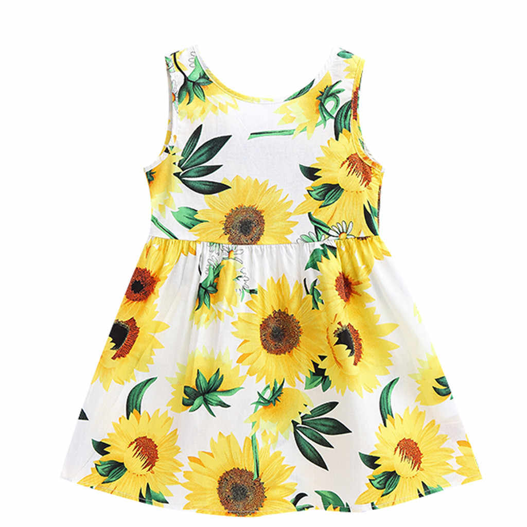 TELOTUNY Girls Dress Cotton 2019 Summer Toddler Baby Girls Fashion Sleeveless Sunflowers Print Princess Dresses Clothes MARC28