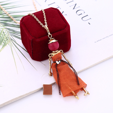 L&H 2019 New Design Fashion Doll Necklace For Women Orange Dress Alloy Pendants Sweater Chain Hot Sales Neck Jewelry Accessories