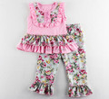 Pink Floral Girls Clothing Set Ruffle Baby Clothes floral Tank Top ruffle Pants Set For Kids