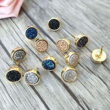 Оптовая продажа 5 пар 12 мм круглые формы камень серьги гвоздики