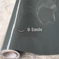 Super Shiny Glossy Vinyl Film High Gloss Vinyl Cement Grey Car Body Wrap Film With Air