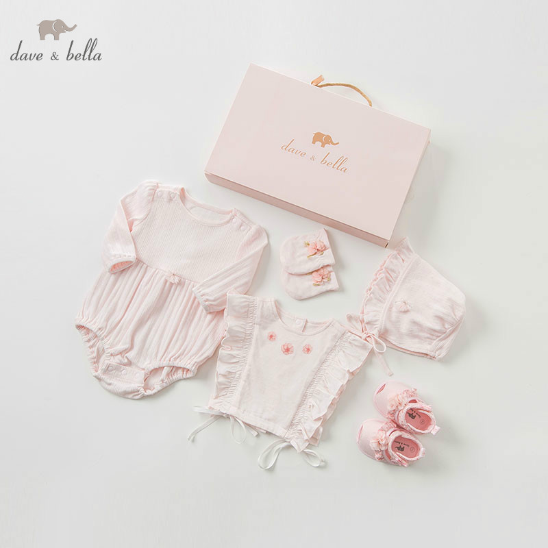 DBH10053 dave bella spring autumn newborn girls rompers infant toddler clothing sets baby cotton jumpsuits