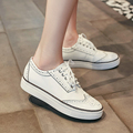 New Leather Shoes Women Flat Casual Brogue Shoes Woman White Lace Up Spring Ladies Driving
