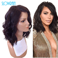 Short Glueless Natural Wave Human Hair Full Lace Wigs Peruvian Virgin Hair Short Bob Lace Front Wigs Top Quality For Black Women