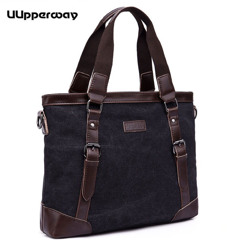 2018 Fashion Handbag Luxury Canvas Bags With Leather Belt Buckle Business Briefcase Top Handle Tote For Men Notebook Bag Travel