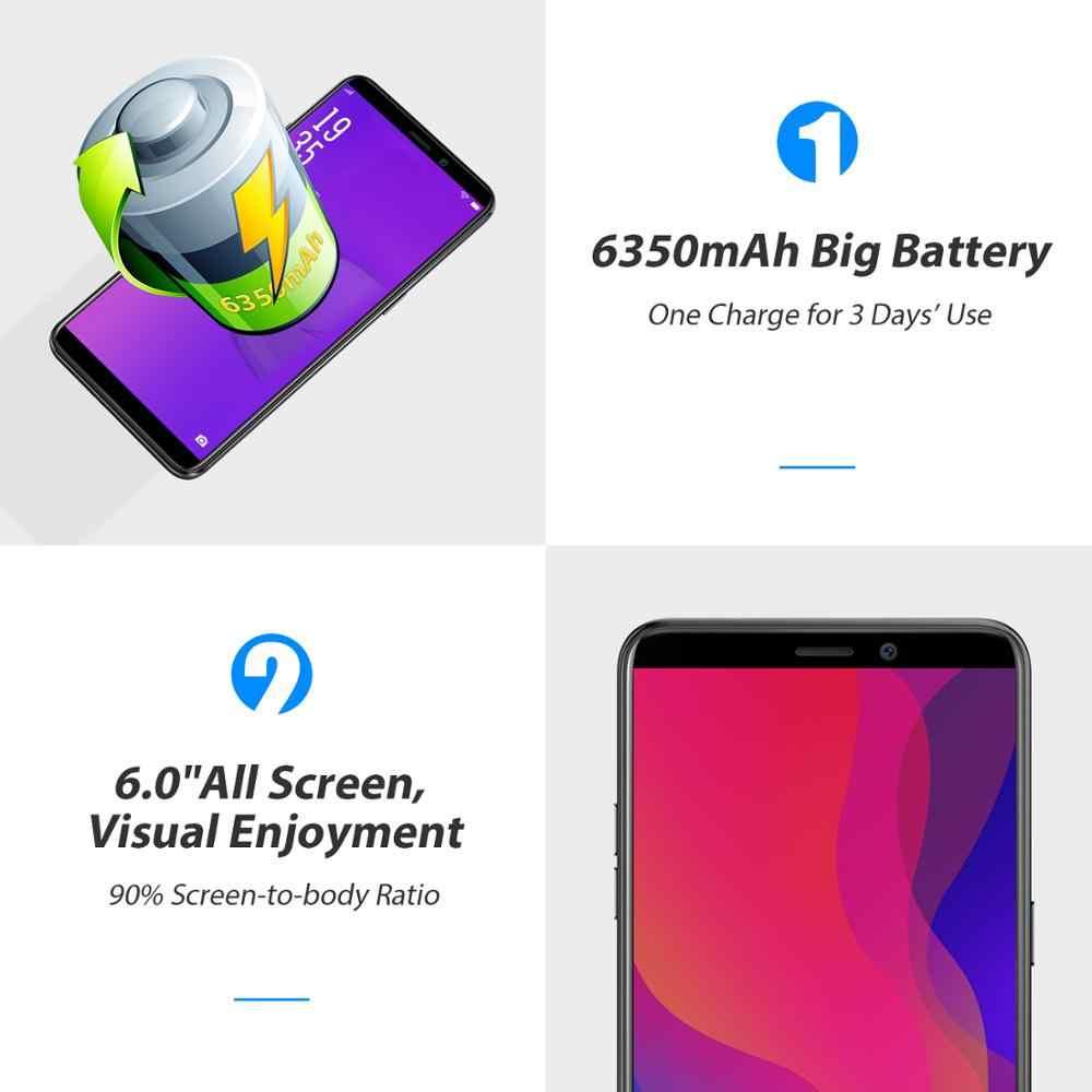 Vernee X2 6.0 Inch 6350 MAh Điện Thoại Di Động 4G LTE Sạc Nhanh 3GB RAM Điện Thoại Thông Minh Android 9.0 Dual Sim mặt ID