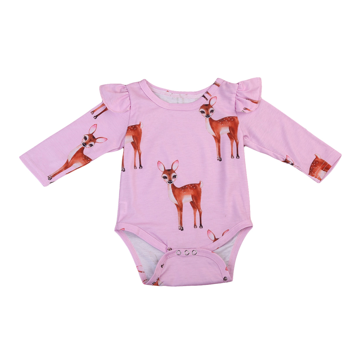 Cotton Newborn Infant Kids Baby Girls Long Sleeve Floral Romper Jumpsuit Clothes Outfits
