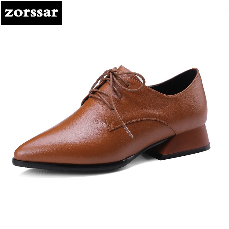 {Zorssar} Big Size 34-42 square heel pointed toe women shoes Pumps Genuine Leather High Heels Single Shoes woman zapatos mujer big size 11 12 elegant round toe lace up casual square heel women s shoes high heels pumps woman for women