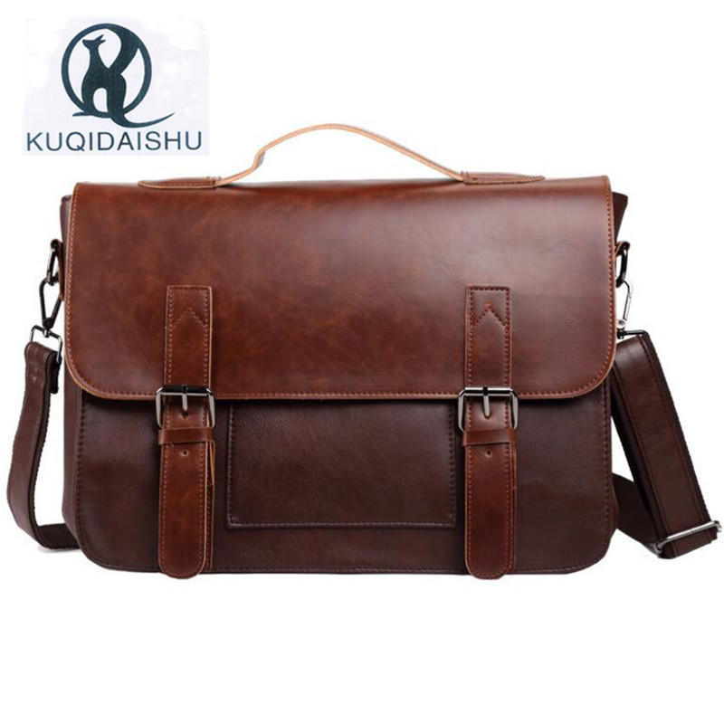 High Quality Men Handbag Vintage Hand Bag Business Travel Messenger Bag Men PU Leather Shoulder Bags sacoche homme купить в Москве 2019