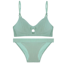 Yhotmeng new sexy ribbed thin section with inserts without bumps no steel ring bra soft cup simple comfortable underwear set