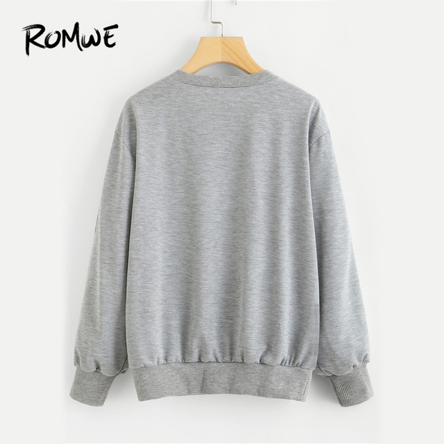 Grey Stripe Tape Detail Pullover Female Casual Sweatshirt 1
