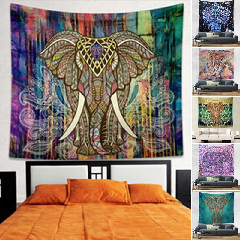 Indian Elephant Mandala Wall Sticker Ganesha Thailand Mural Art Vintage Retro Decorative Cloth Wall Carpet Home Decor Gift