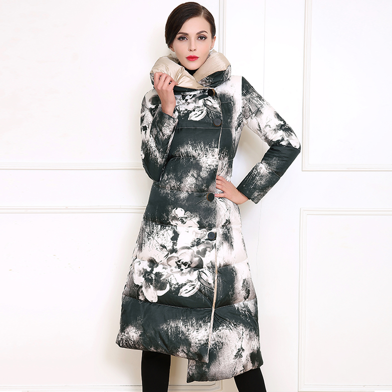 New European style single-breasted thicikening long warm down cotton coat fashion ink printing padded coat outwear T788