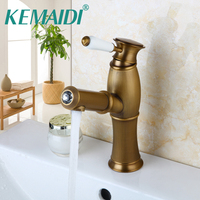 KEMAIDI Bathroom Faucet Pull Out Luxury Mixer Antique Brass Bathroom Basin Sink Faucets Mixers Tap Vanity