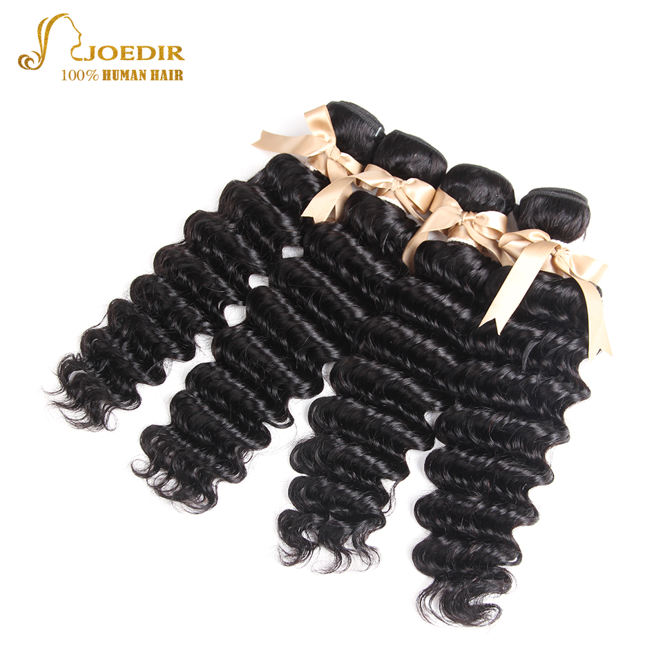 Joedir Peruvian Hair Deep Wave 4 Bundles Natural Color 14 To 26 Inch With 360 Lace Closure Human Hair Bundles With Closure