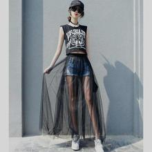 Yiwa Women Spring Summer Mesh Long Skirt Casual Sexy High Waist Transparent One Layer Lace Hollow Out A Line Black Skirt 2019